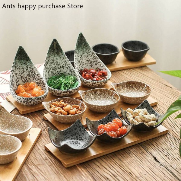 Creative ceramic fruit platter With tray Dried fruit / dessert Partition dish / sauce seasoning dish natural bamboo board