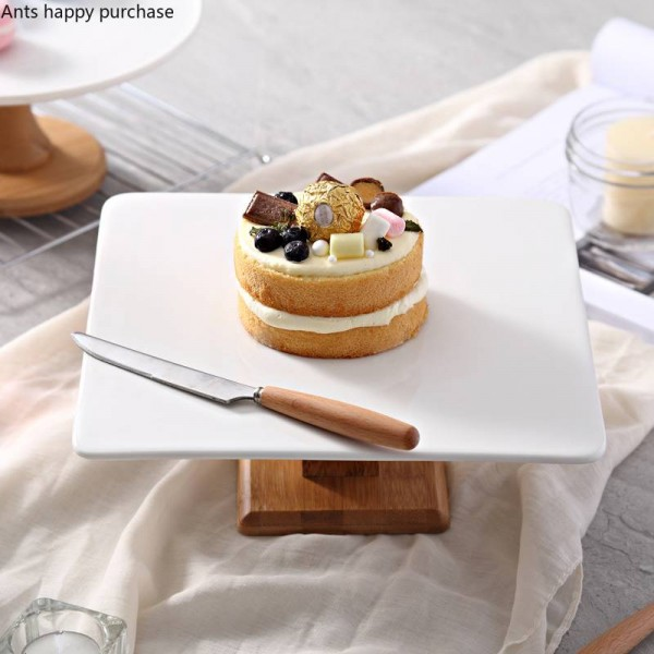 Creative European style ceramics Cake pan High foot dessert bread fruit plate Dessert table Display stand Try the tray square