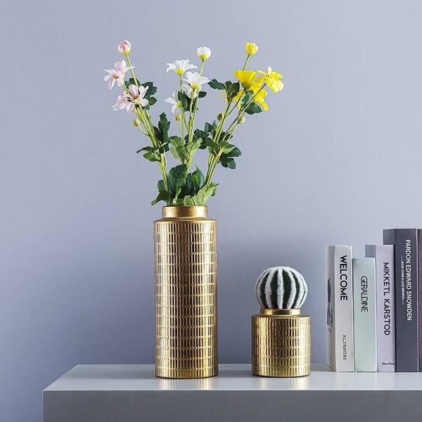 Creative European Vase Plating Metal Color Ceramic Vase Decoration Home Decoration Flower Arrangement Vase