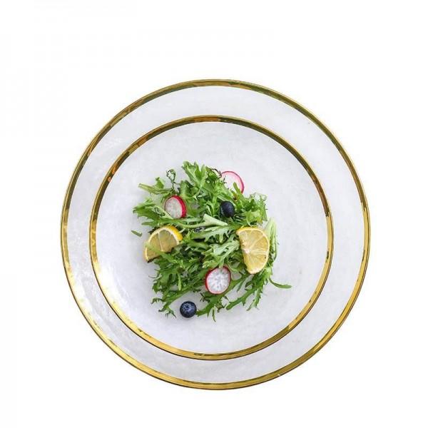 Creative Glass Plate Gold Rim Dinnerware Tableware Fruit Salad Fruit Round Dish Breakfast Cake Pastry Saucer Home Decoration