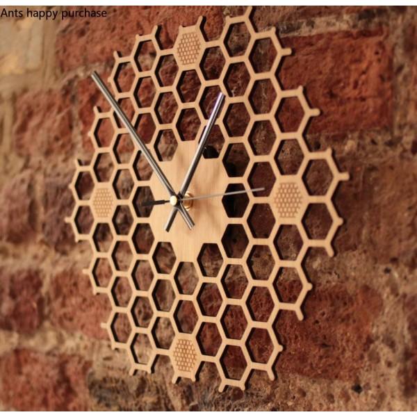 Creative Hexagon log honeycomb wall clock rural natural Wall hanging clock Home Decorations farmhouse decor wall watch