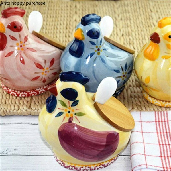 Creative kitchen Castor Ceramic glaze storage jar Spice jar Salt sugar tea chick lovely Household Cover