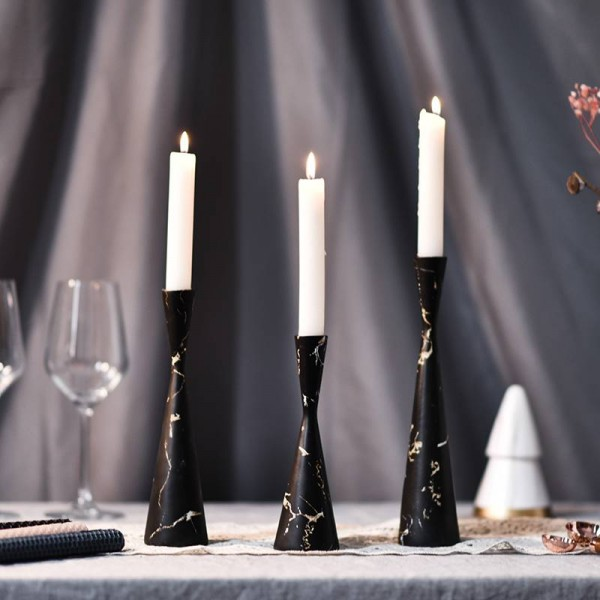 Creative Marbled Nordic Light Luxury Candlestick Table Model Room Window Decoration Decoration Props