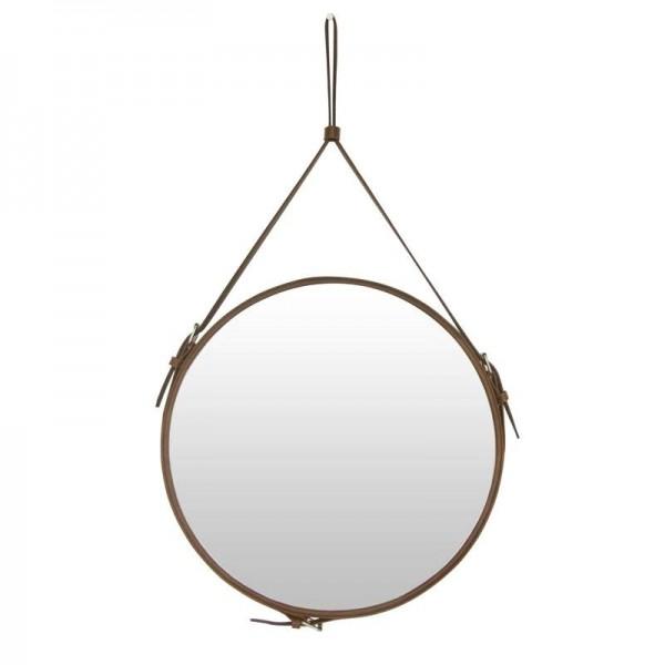 Creative Round belt hanging mirror bathroom PU leather frame makeup mirror hotel home decoration wall mirror mx3081024