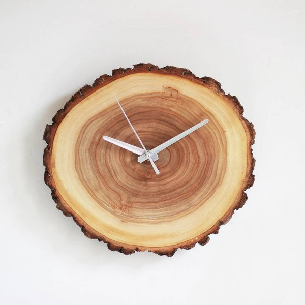 Creative solid wood Annual ring Clock mute simple wall clocks natural wood wall clock modern design