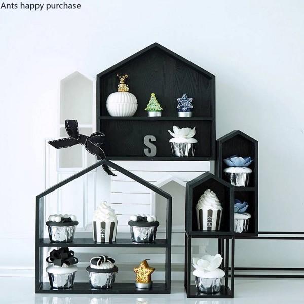 Creative Wooden House shape Desktop storage Cosmetic storage Dessert rack cupcake Home Decorations Display stand