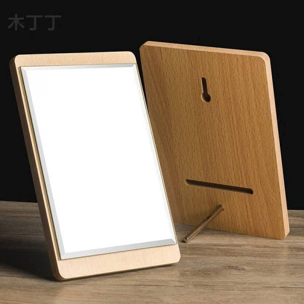 Desktop HD Makeup Mirror Simple wall mounted Single Side Large Wooden Dressing Mirror Portable cosmetic Mirror mx01111058