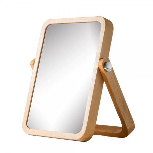 Desktop makeup mirror simple solid wood vanity mirror portable wooden folding desktop mirror wx8281415