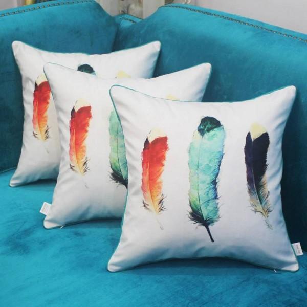 Digital Printing Cushion Cover Luxury Feather Design Cojines Decorativos Para Sofa Christmas Car Cover Soft Home Throw Pillows