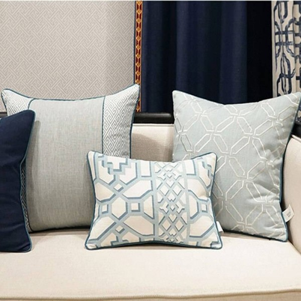 Elegant Nordic Cushion Cover Geometry Blue Luxury Jacquard Throw Decorative Pillow Car Cover Housse De Coussin Home Textile Gift