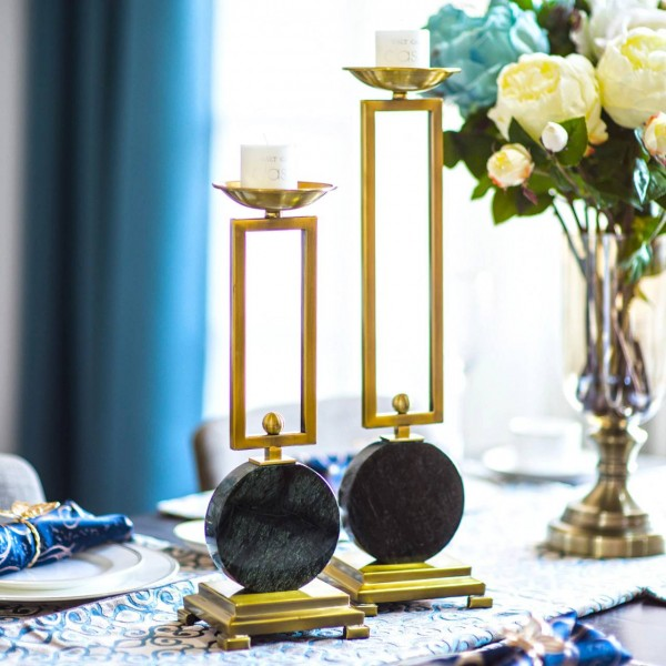 Emerald model room candlestick table decoration decoration marble metal candlestick European ornament Decorative Candle Holders