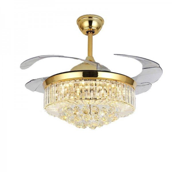 Europe crystal pendant lights Gold luxury LED droplight with fan function hotel foyer bedroom lighting K9 crystal decoration