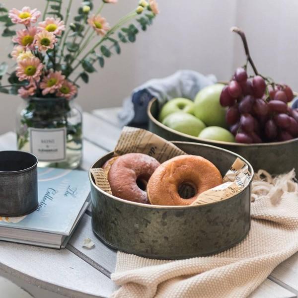 Europe Style Metal Storage Basket Vintage Handmade Creative Fruits/Breads Plates Iron Sheet Table Organizer Storage Tray