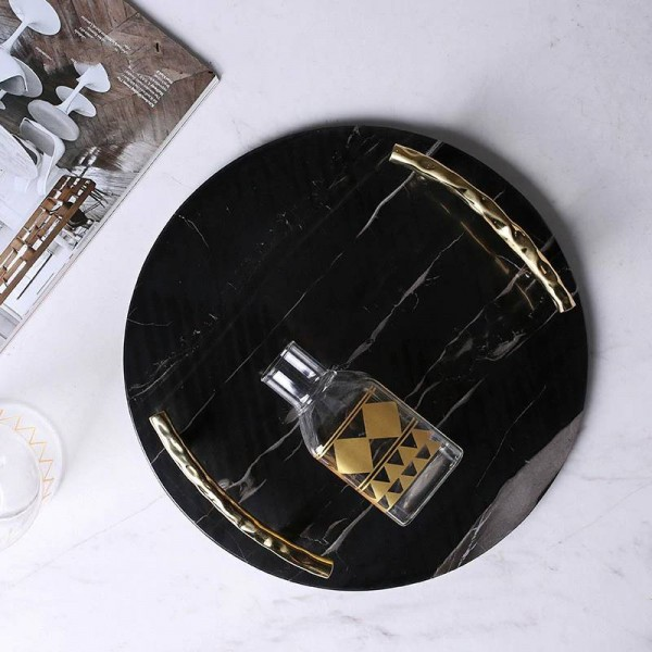 European Black Marble Round Tray Luxury Stainless Steel Handle Jewelry Plate Decorative Plate