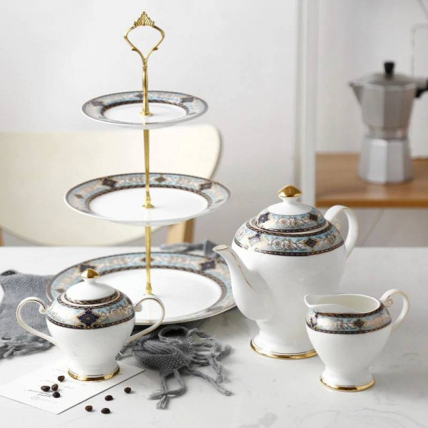 European Bone Dried Fruit Plated Gold Snack Plate Skewer English Afternoon Teapot Bone Coffee Pot Set Gifts