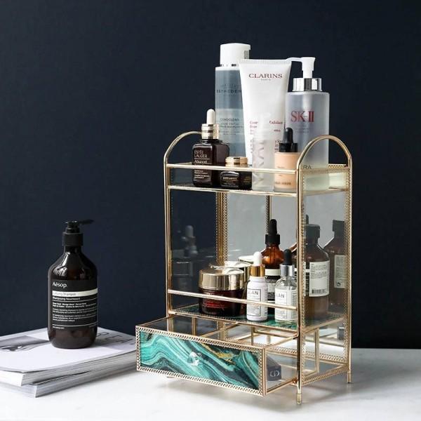 European Creative Glass Multi-layer Cosmetics Storage Box Desktop Perfume Skin Care Lipstick Finishing Rack