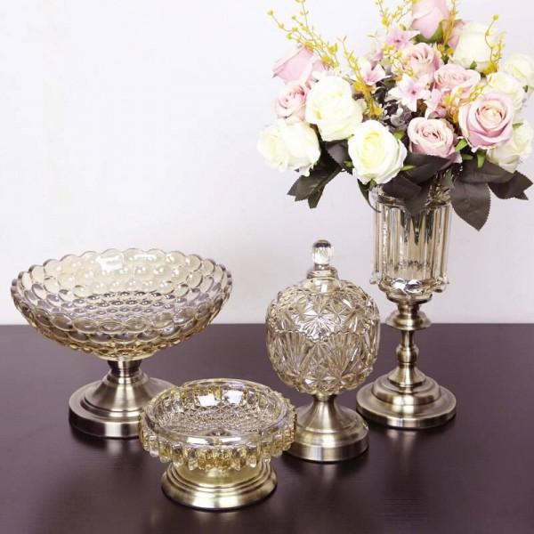European Fruit Plate Crystal Glass Fruit Bowl Three-piece Modern Home Luxury Decorative Ornaments