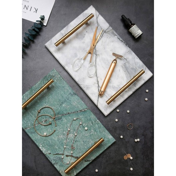 European Gold Handle Marble Tray Storage Tray Storage Board Dessert Plate Sushi Plate Natural