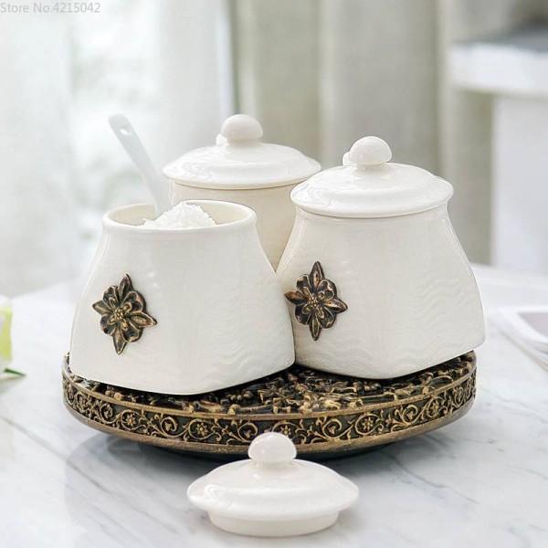 European Kitchen Rotating Seasoning Jar Ceramic Set Creative Combination 3piece Kitchen Supplies Oil Salt Tank Seasoning Box