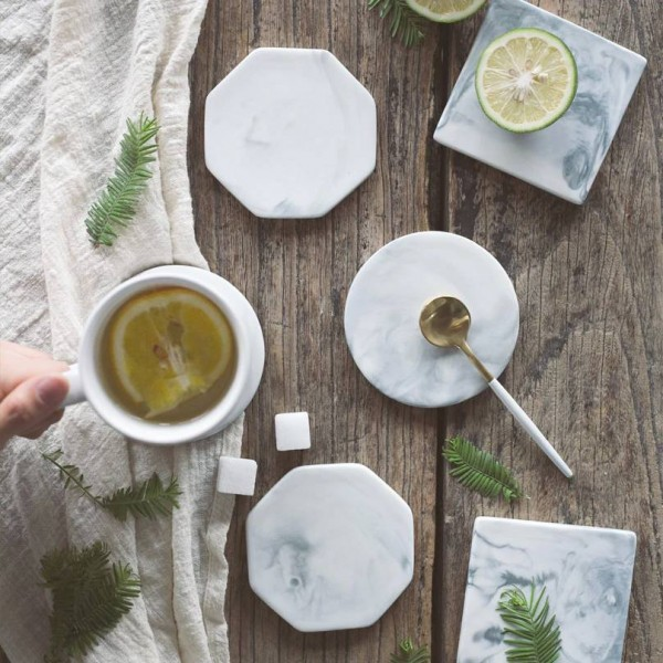 European Marble Pattern Ceramic Drink Coaster Coffee Cup Mat Tea Pad Dining Hard Table Placemats Table Decoration Accessories