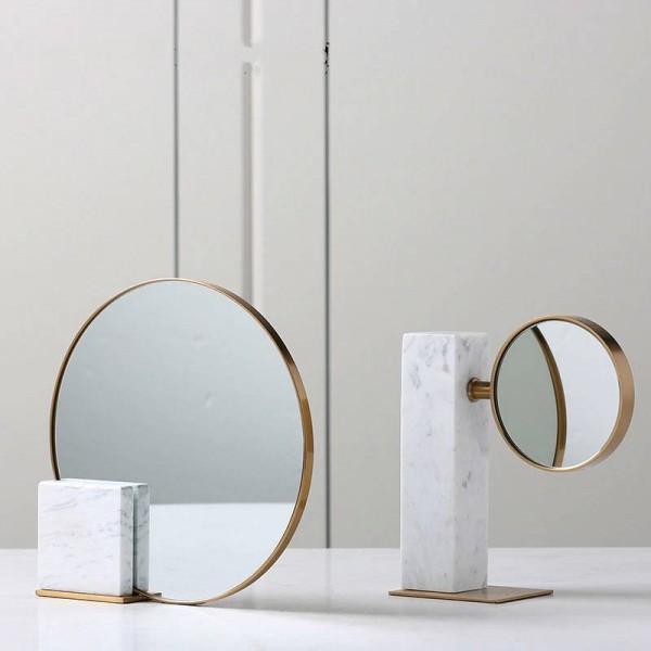 European Minimalist Luxury Metal Marble Glass Mirror Decoration Soft Decoration Home Bedroom Desktop Decoration Gifs