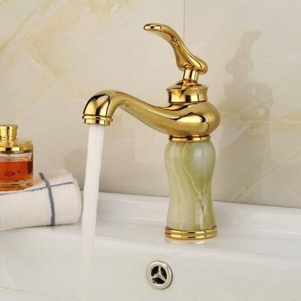 European noble golden jade bibcock marble basin faucet SY-1