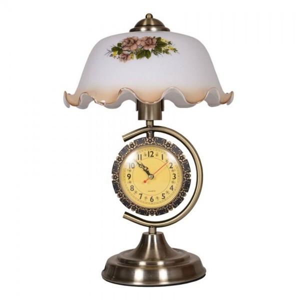 European Table Lamp with clock Creative white glass shade metal bracket bedroom bedside lamp living room deco desk lamp