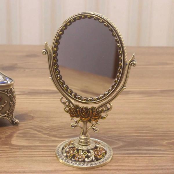 European retro vanity mirror bathroom bedroom bronze make up mirror creative metal double-sided decorative mirror wx8230930