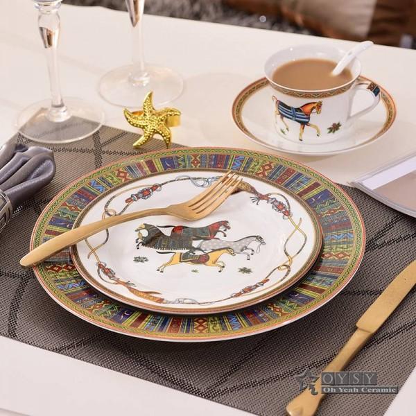 European Style Ceramic dinnerware set bone fashion Red design 4pcs dinnerware sets Striped dinner set housewarming gifts