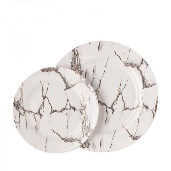 European Style Ceramic Marble Pattern Household Large Fish Plate Dinnerware Hotel Spaghetti Egg Round Dish Vegetables Big Saucer