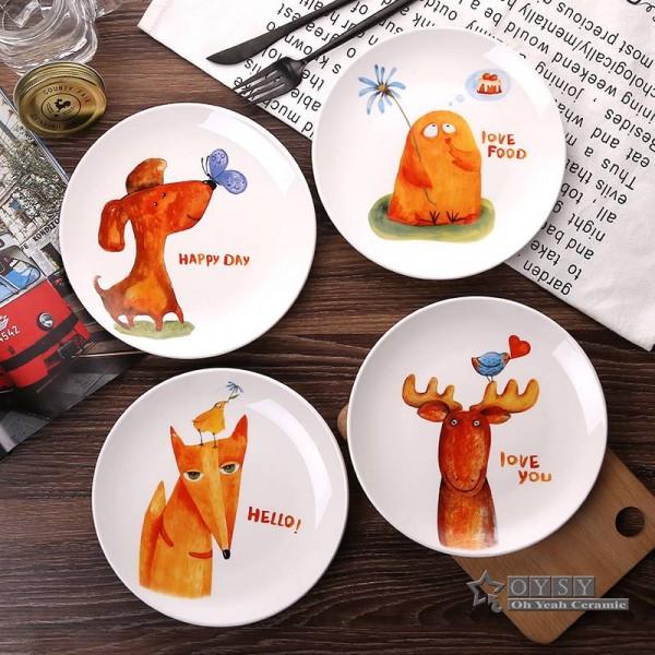 Fashion Style 8*inch Dia Bone Ceramic Flat Plates Cartoon Pattern Porcelain Tableware Salad Sushi Cake dish