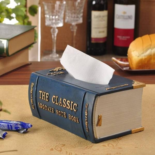 Fashion Vintage Books Style Resin Box Tissue Pumping Box Paper Towel Tube
