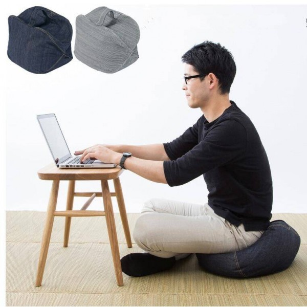 Floor Sitting Cushion Footstool With Handles- Japanese Round Seating Sofa Pouf Foot Leg Rest Step Stool Pillow for Kids Adults