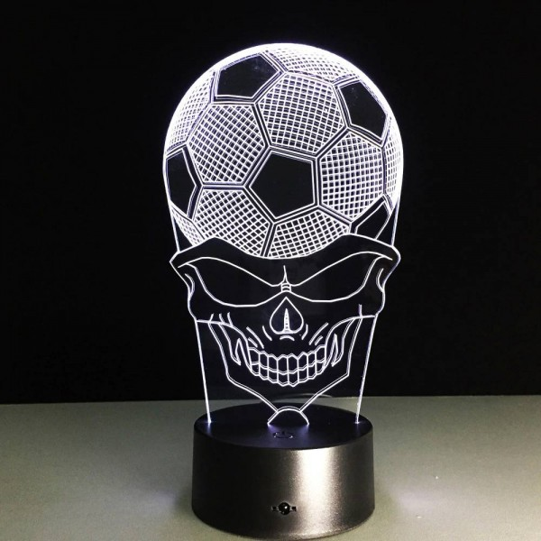 Football Skull Head night lights creative 3d Led Acrylic skull Lampshade usb Bedside Sleep lamp For sport fans Gifts deco lamp