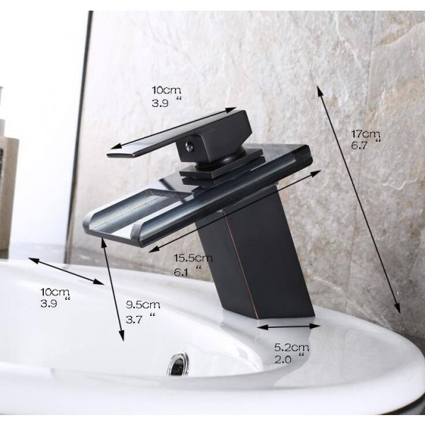 3 LED Color Changing Waterfall Bathroom Faucet Vanity Sink Mixer Tap Oil Rubbed Bronze A1008