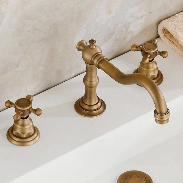 3 pcs Antique Brass Deck Mounted Bathroom Mixer Tap Bath Basin Sink Vanity Faucet Water Tap Bath Faucets HJ-606