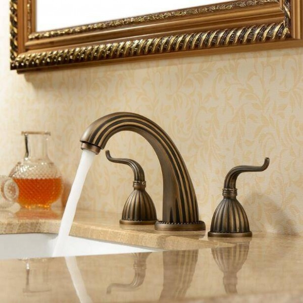 3 pcs Antique Brass Deck Mounted Bathroom Mixer Tap Bath Basin Sink Vanity Faucet Water Tap Bath Faucets XR8210