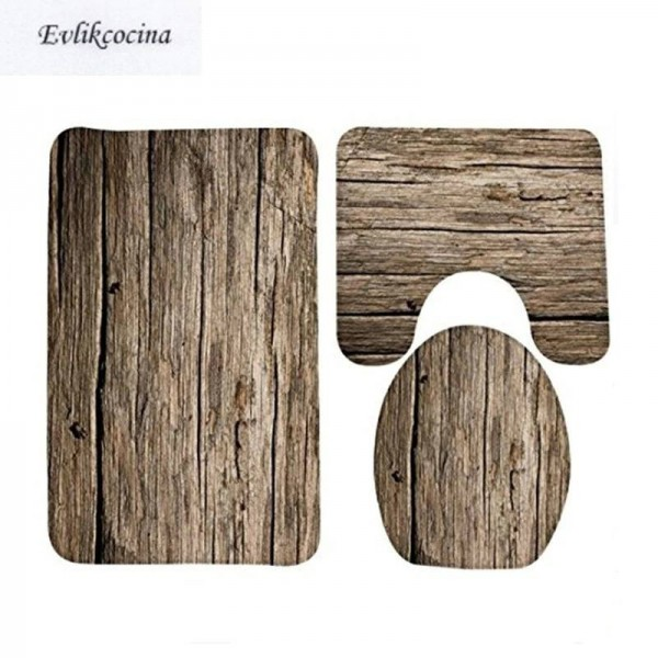 3pcs Classc Banyo Wood Grain Bathroom Carpet Toilet U Type Bath Mat Set Non Slip Tapis Salle De Bain Alfombra Bano