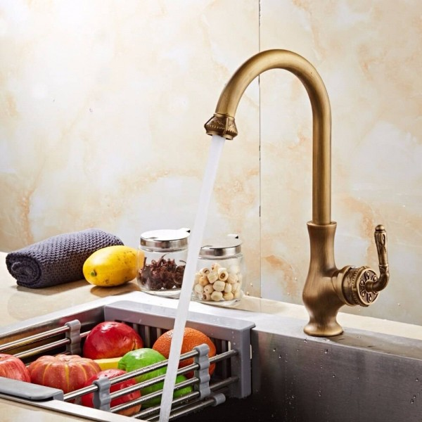 Antique Bronze Finish Kitchen Faucets Kitchen Tap Basin Faucets Single Hand Hot And Cold Wash Basin Tap LAD-24