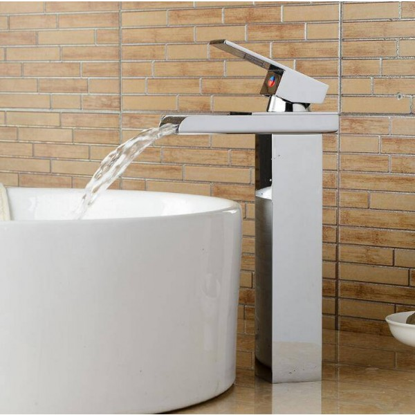Basin Faucet Chrome Deck Temperature Controlled Bathroom Sink Faucet Waterfall Crane Mixer Water Tap A1012