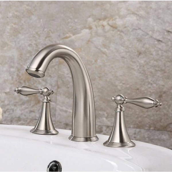 Promotion Deck Mounted Widespread Antique Brass Bathroom Basin Faucet Dual Handles Mixer 8206
