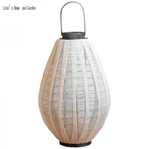 garden decor hurricane white fabric wooden lantern candle holder