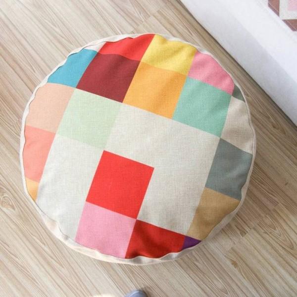 Geometric patterns Color plaid cushion pillow lazy style linen meditation almohada futon tatami small sofa cushions 15cm thick
