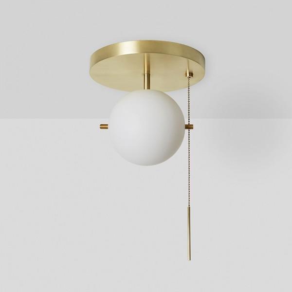 Gidu Mid-Century Pull Chain Ceiling Light Globe Glass Shade Semi Flush Mount Metal in Gold