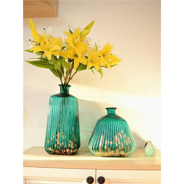 Glass Vase Art Decoration Flower Blue Living Room Model Room Decoration