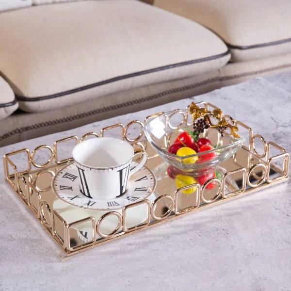 Golden Tray Home Soft Decoration Desktop Tea Set Storage Tray Decoration Hotel Metal Rectangular Tray