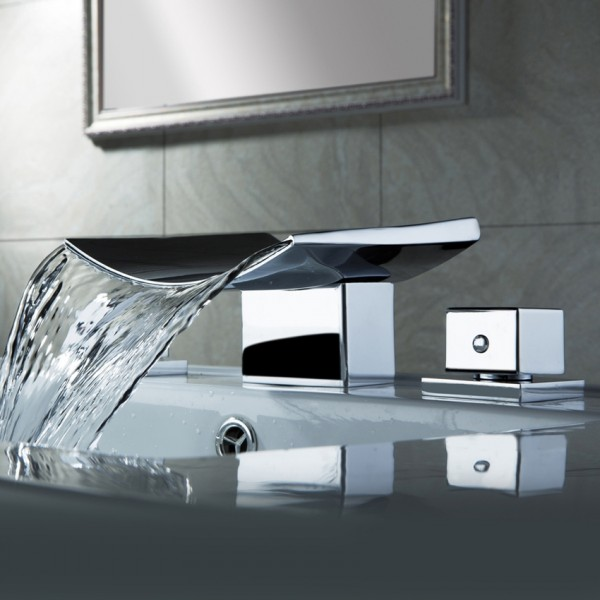 Grop Contemporary Double Handle Waterfall Widespread Bathroom Sink Faucet in Polished Chrome