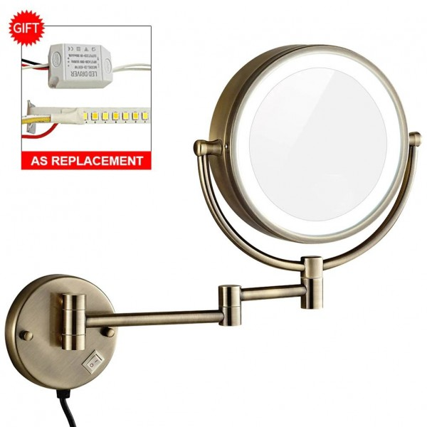 10X Magnification Vanity Lighted Makeup Mirror led Lights Extended Folding Shaving Bath Wall Mount Mirrors Dual Sided