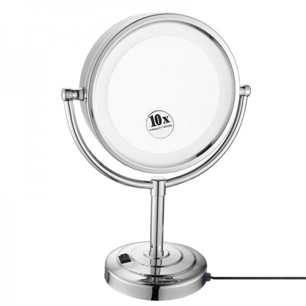 """8.5"""" Desktop Vanity LED Makeup Mirror lights Double Sided Cosmetic Mirror Magnification x10 and Normal, Polished Chrome"""