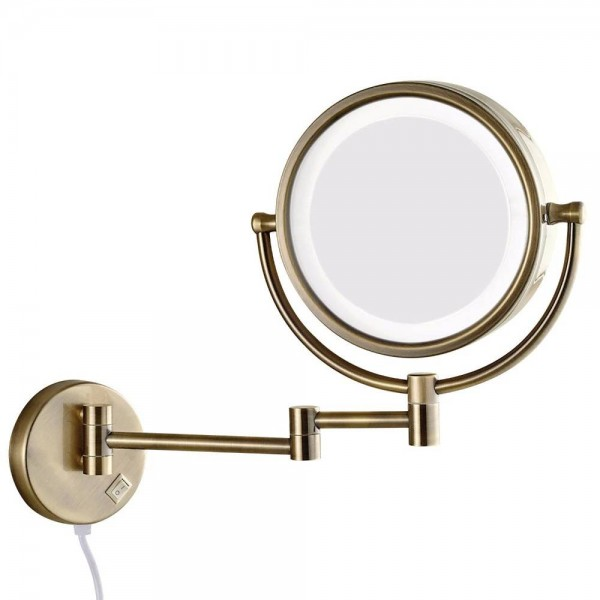 Bath Wall Makeup Mirror with led Lights and 10X Magnifying Dual Extend Arm Folding Shaving Mirrors Dual Sided Antique